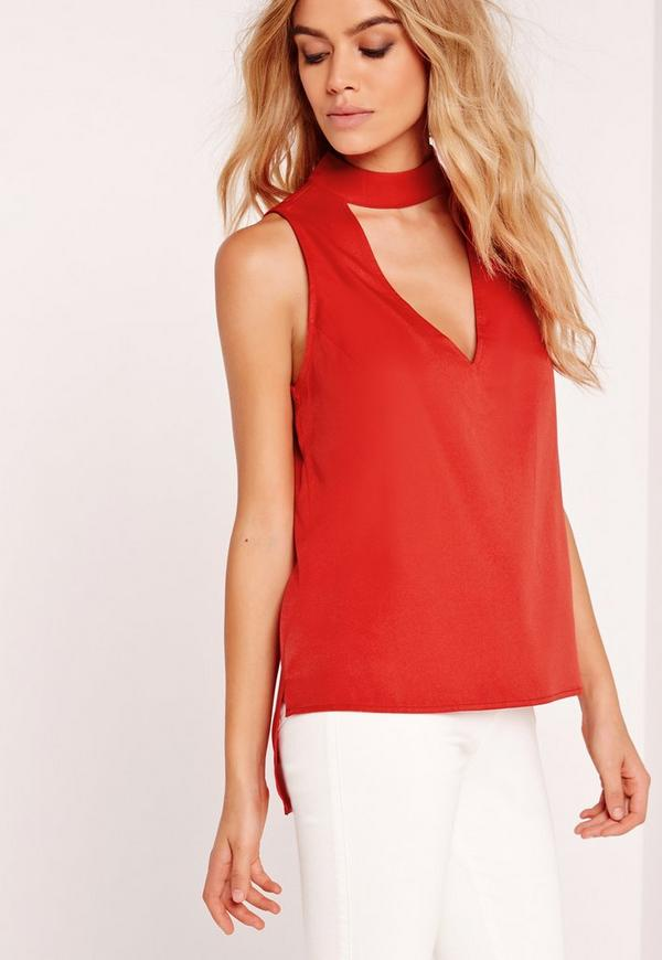 Choker Neck Vest Top Red
