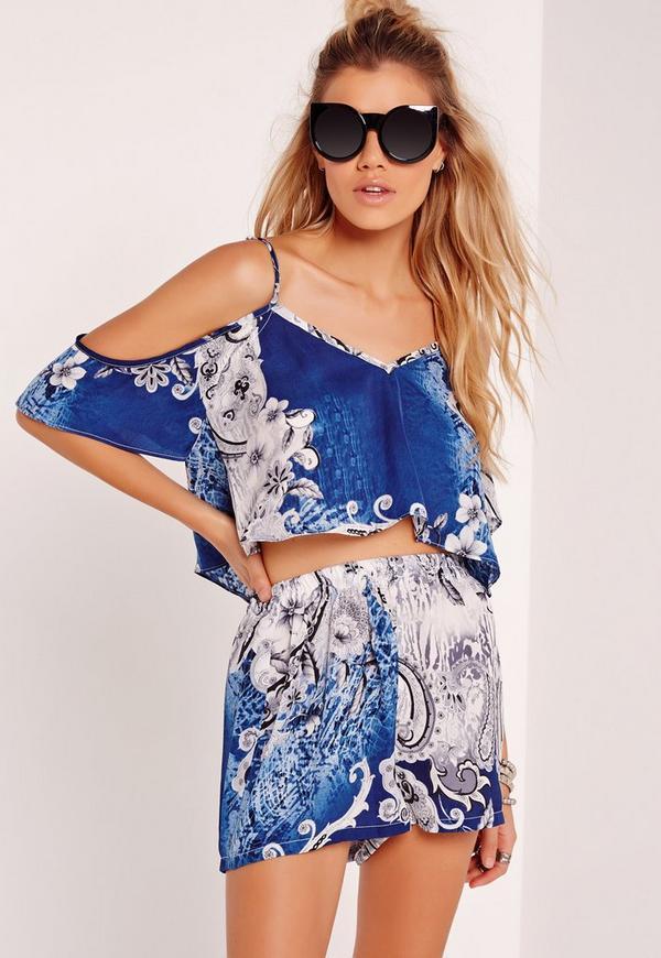 Cold Shoulder Floral Print Cami Crop Top Multi