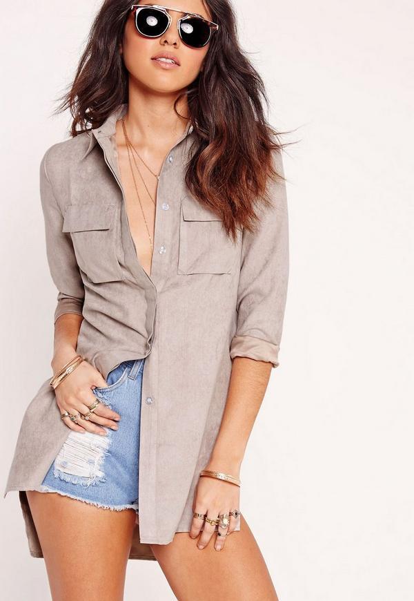 Faux Suede Longline Shirt Grey