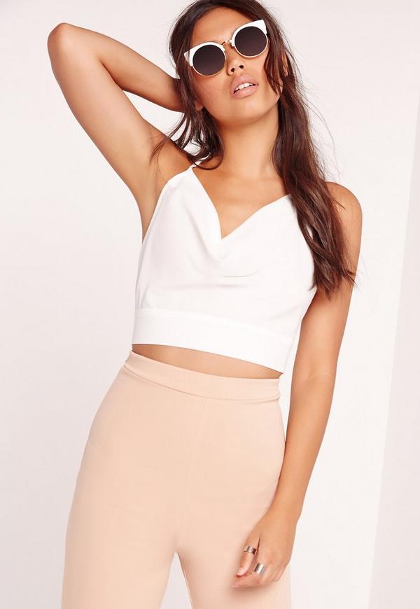 49b1a436c144b0 Jersey Lace Halter Neck Crop Top White