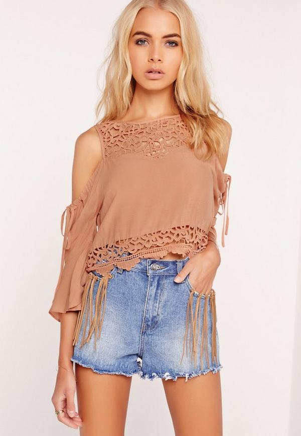 5eb2087f217d13 Lace Yoke Cold Shoulder Top Nude