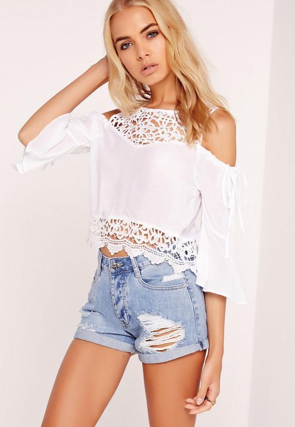Lace Yoke Cold Shoulder Top White