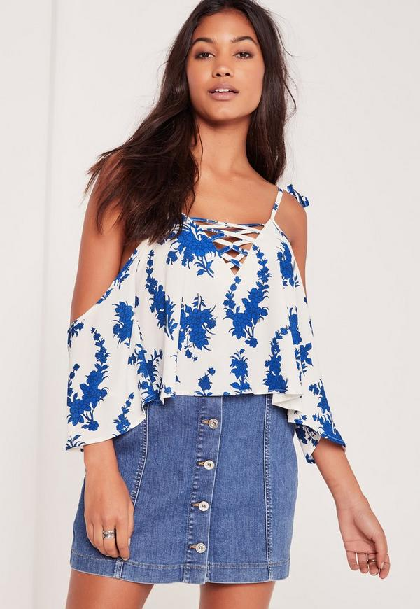 Printed Frill Cold Shoulder Lattice Front Blouse White
