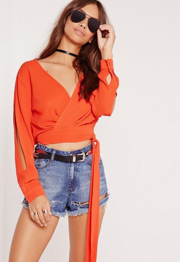 Open Sleeve Wrap Crop Top Orange