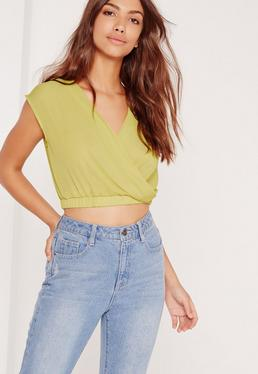 Sleeveless Crop Wrap Blouse Chartreuse Green