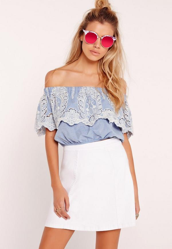 Embroidered Chambray Bardot Crop Top Blue