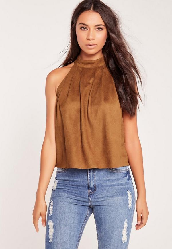 Suedette High Neck Swing Top Tan