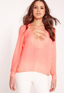 Scallop Lattice Blouse Coral
