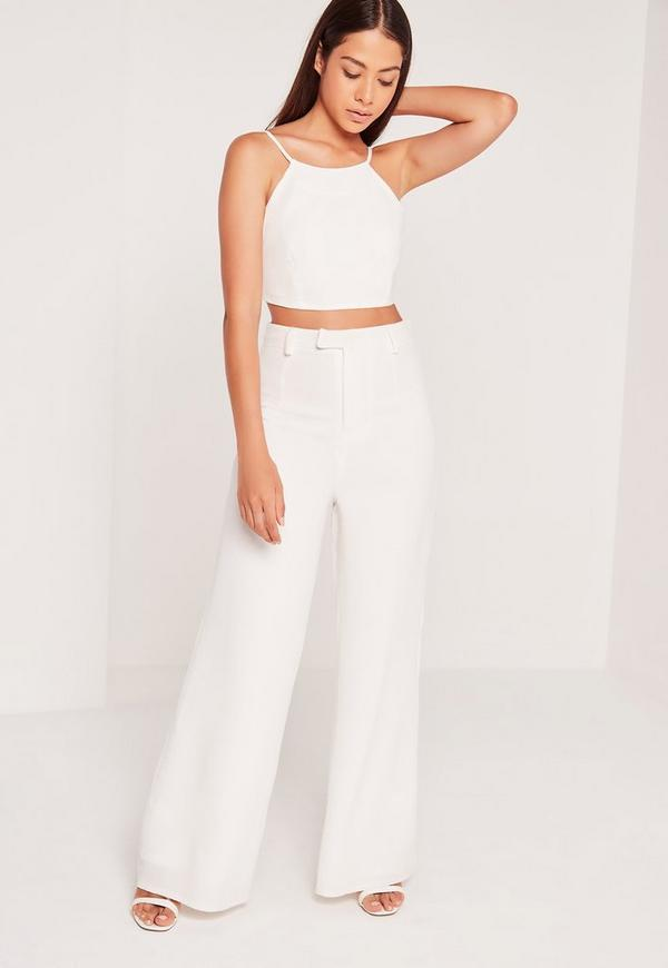 Crepe Cropped Top White