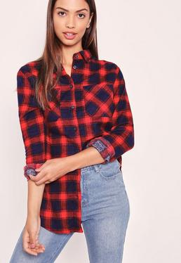 Brushed Checked Shirt Red