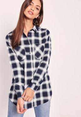 Brushed Checked Pocket Front Shirt Navy
