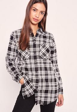 Brushed Checked Shirt Black