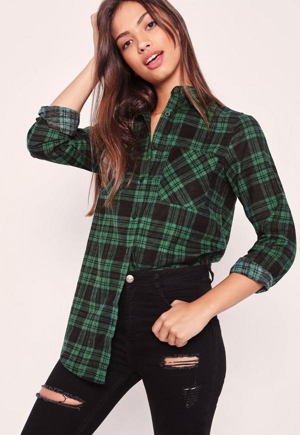 Brushed Checked Shirt Green