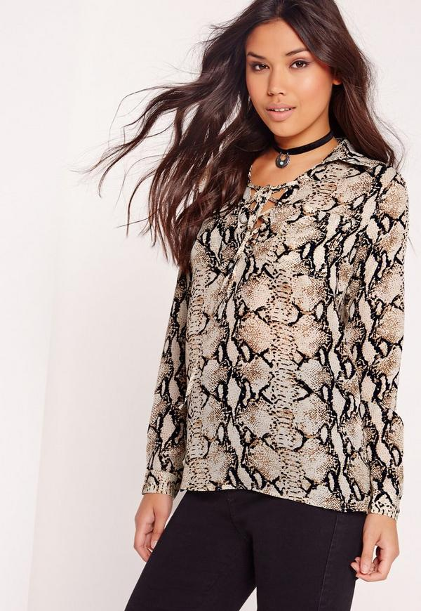 Snake Print Long Sleeve Lace Up Blouse