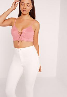 Lace Up Suedette Bralet Pink