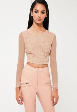Peace + Love Nude Embellished Crop Top