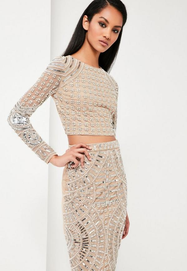 dc40b784136913 Peace + Love Silver Embellished Crop Top