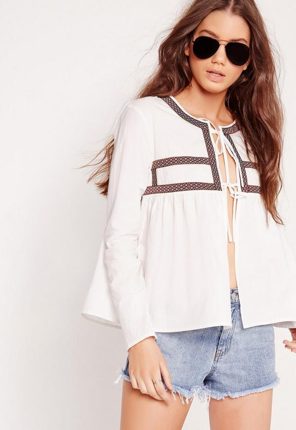 Embroidered  Tie Blouse White