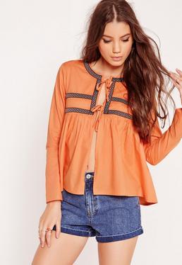 Embroidered Tie Blouse Orange