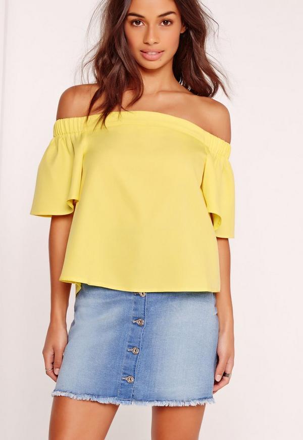 Basic Bardot Crop Yellow