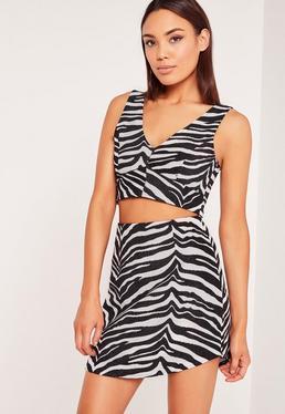 Zebra Jacquard Bralet Black