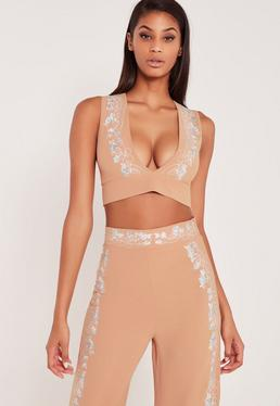Carli Bybel Embroidered Plunge Crop Top Nude