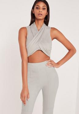 Carli Bybel Faux Suede Drape Wrap Crop Top Grey