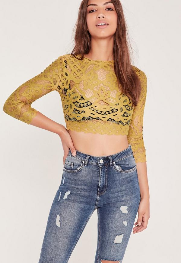 High Neck Lace Crop Top Chartreuse Green