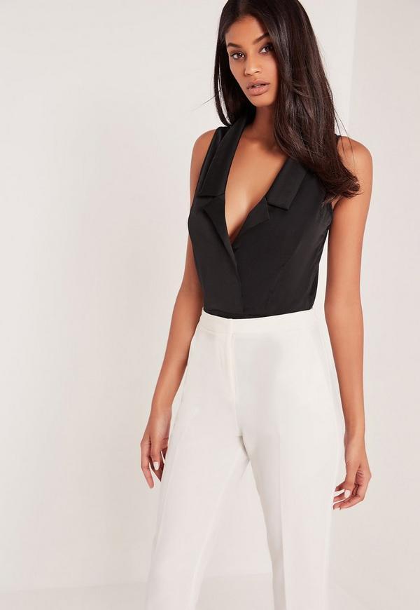 Sleeveless Blazer Bodysuit Black