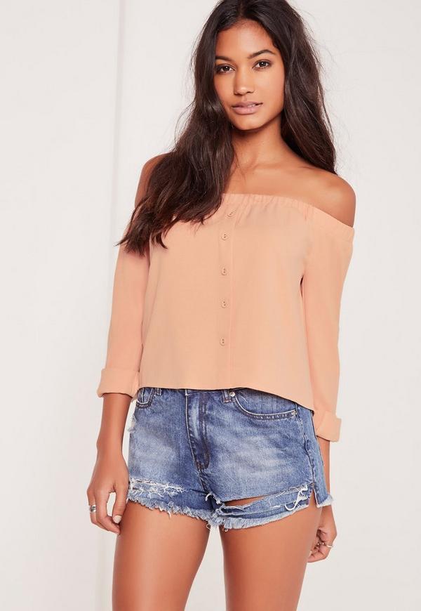 Long Sleeve Button Front Bardot Top Nude-16