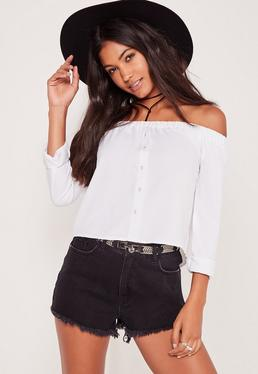 Long Sleeve Button Front Bardot Top White
