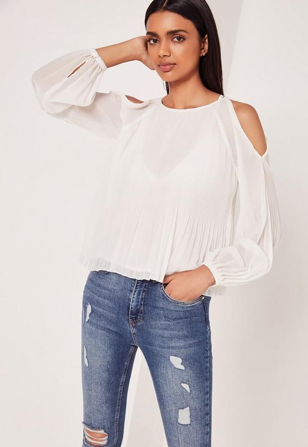 Pleated Cold Shoulder Tie Front White