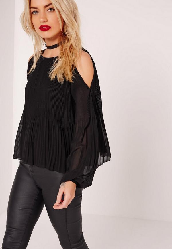 Pleated Cold Shoulder Tie Front Top Black