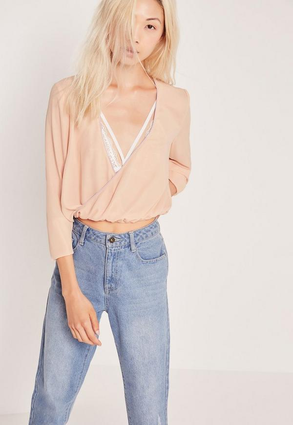 Wrap Front Contrast Bind Blouse Nude