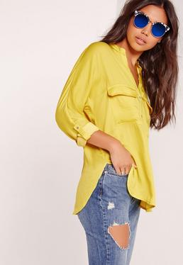 Silky Pocket Detail Shirt Yellow