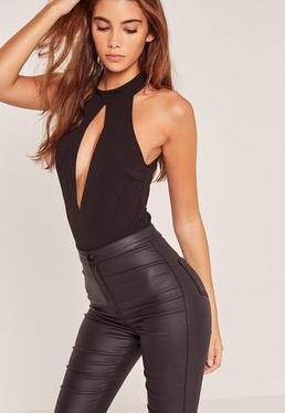 High Neck Deep Plunge Zip Back Bodysuit Black