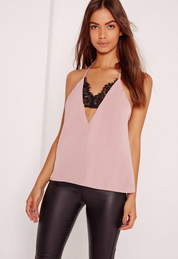 Insert Lace Strap Detail Cami Lilac