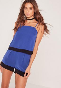 Colour Block Hem Cami Top Blue