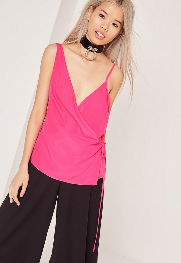 Satin Wrap Tie Cami Top Pink