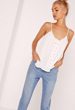 Lace Up Front Cami Top White