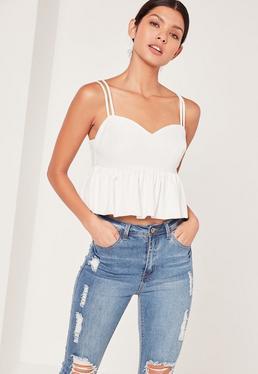 Schößchen-Camisole mit Sweetheart-Ausschnitt in Weiß