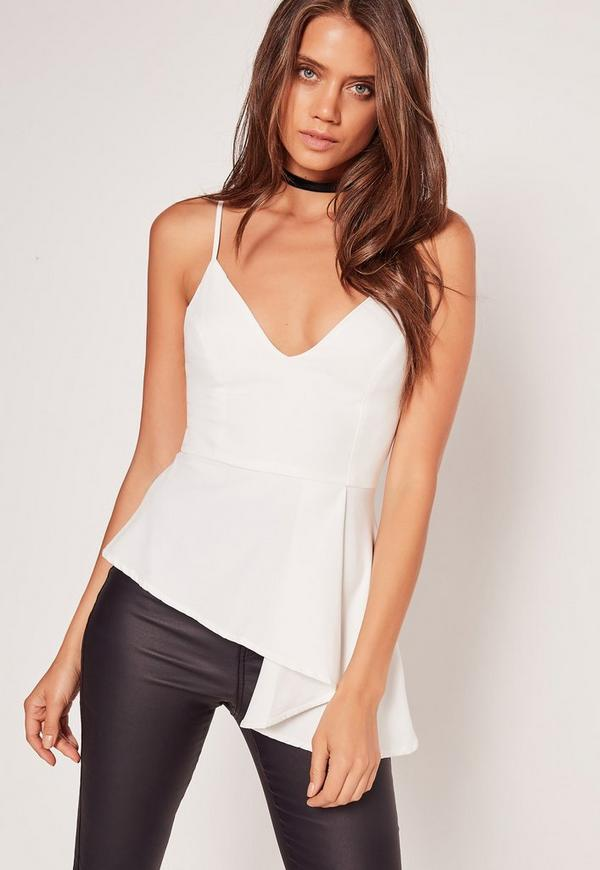 White Asymmetric Peplum Cami Top