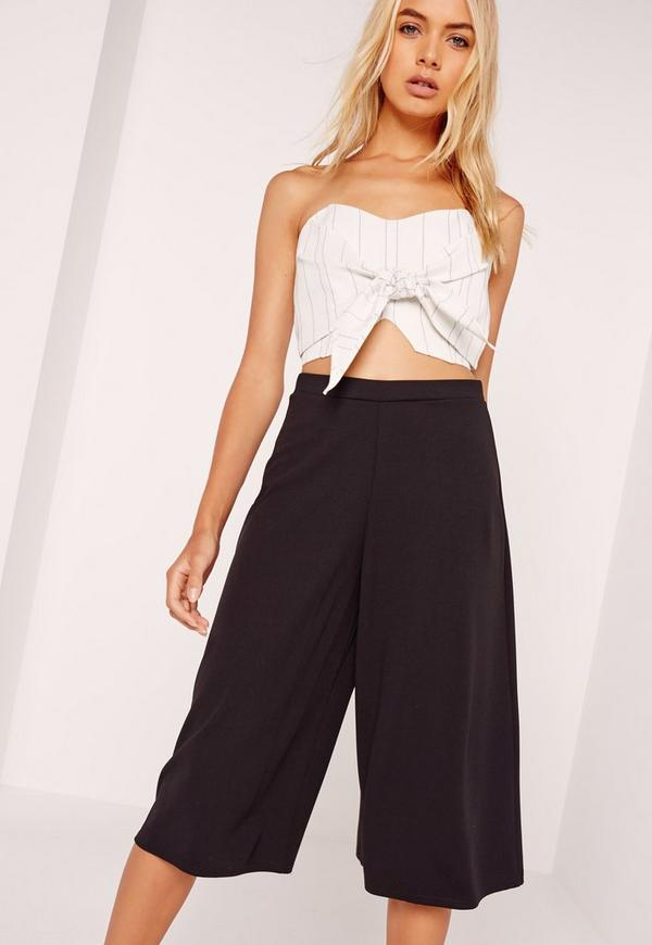 Pinstripe Tie Front Bandeau Top White