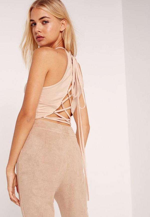 Faux Suede Lace Up Back Crop Top Nude