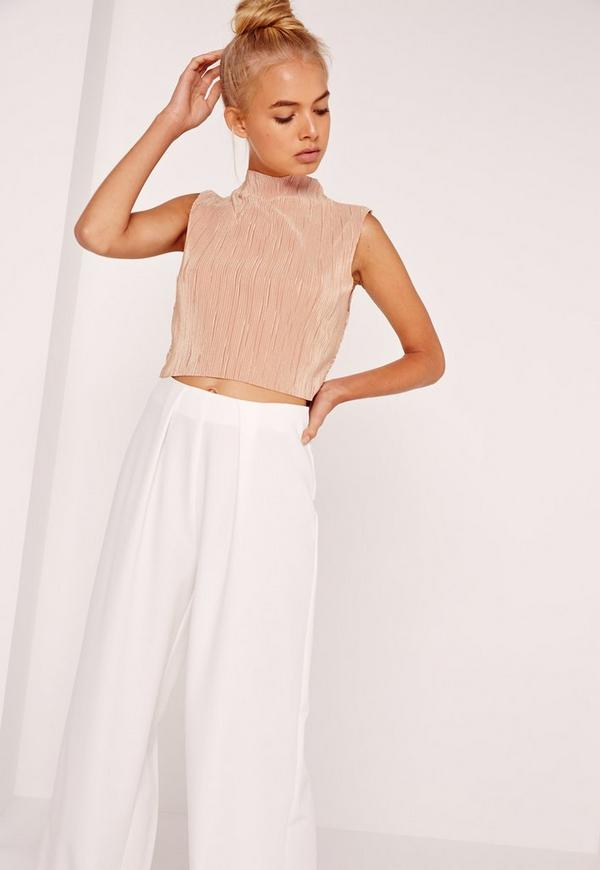 Nude High Neck Vertical Pleated Crop Top