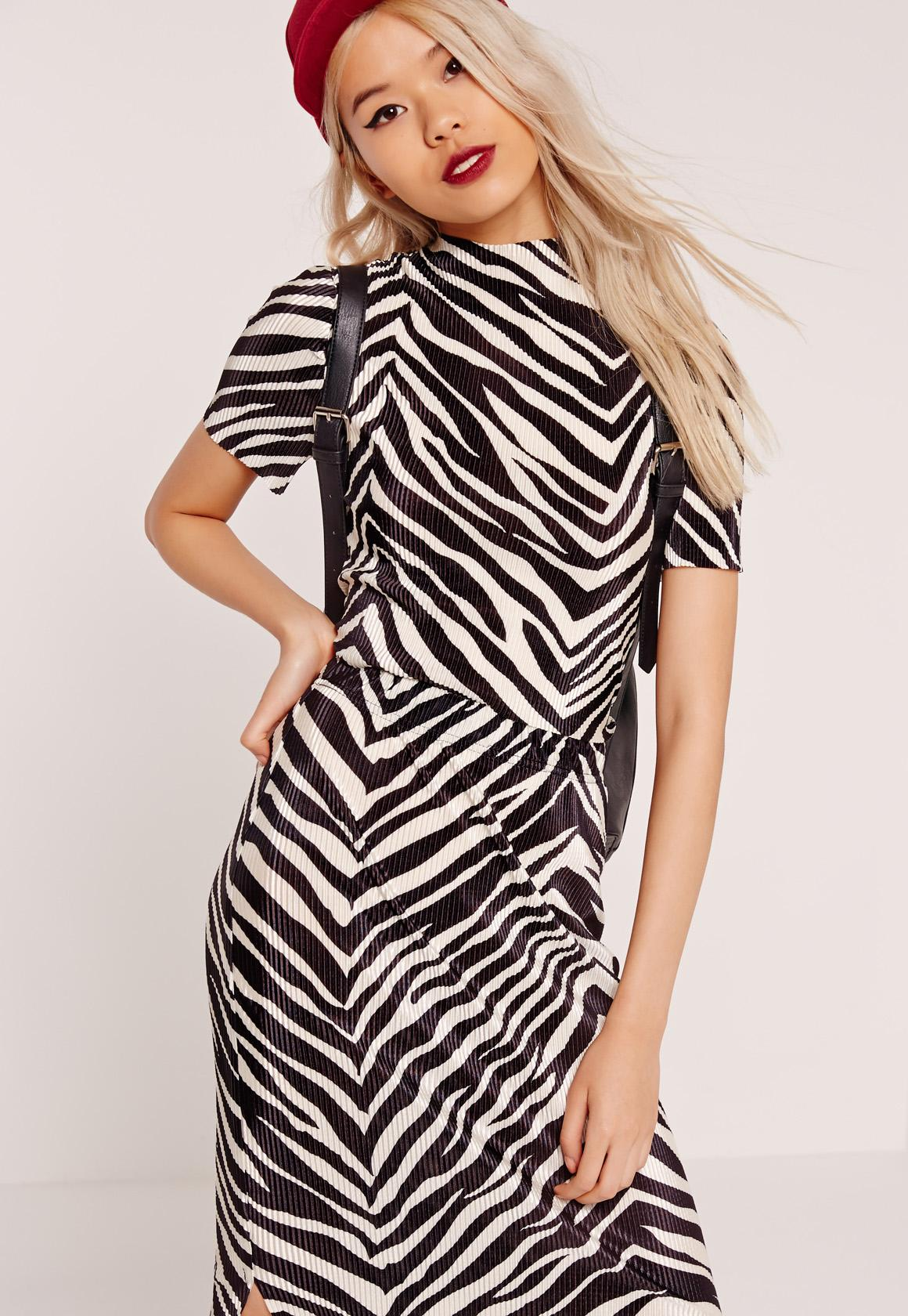 Zebra High Neck Pleated Crop Top Black