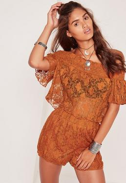 Sheer Lace Bardot Pleated Crop Top Orange