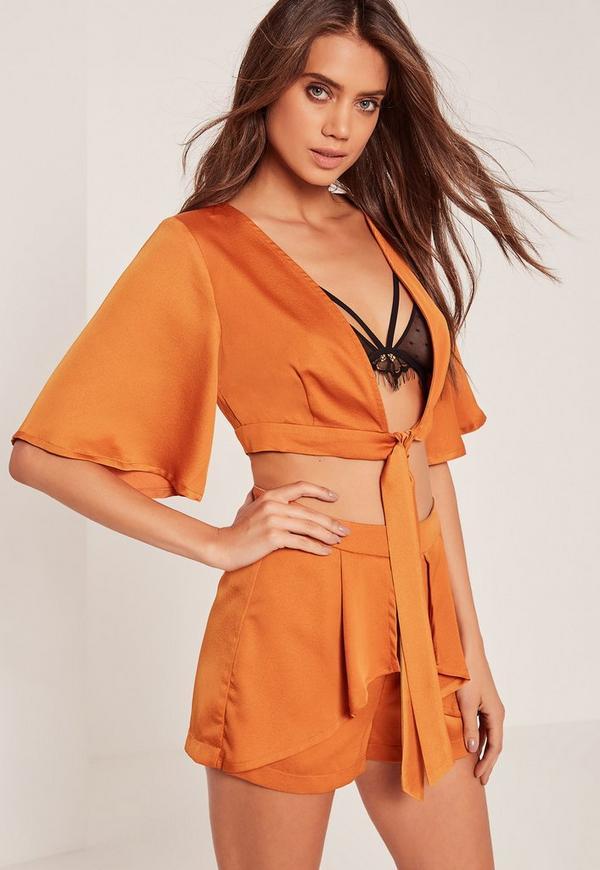 Kimono Sleeve Satin Tie Front Crop