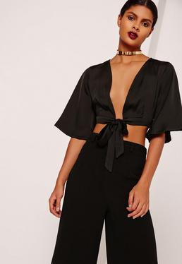 Kimono Sleeve Satin Tie Front Crop Top Black