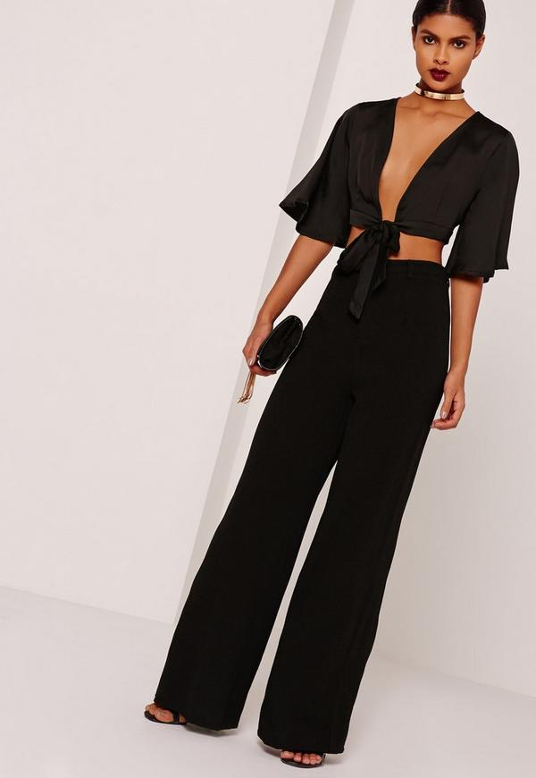 Kimono sleeve satin tie front crop top black missguided tie front crop top black previous next ccuart Gallery